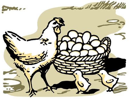 An illustration of a hen with two small chicks and a large basket of eggs Фото со стока