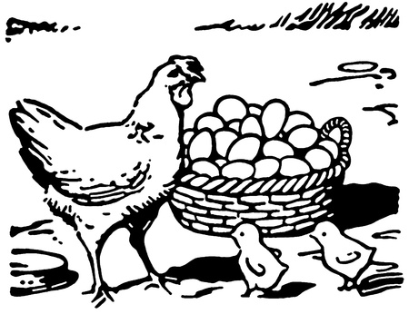 Een zwart-wit versie van een afbeelding van een kip met twee kleine kuikens en een grote mand met eieren Stockfoto
