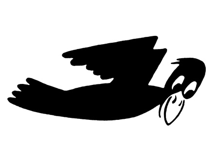 A black and white version of a cartoon style image of a flying duck photo