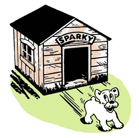 skidding:  A cartoon style drawing of a dog skidding from its kennel