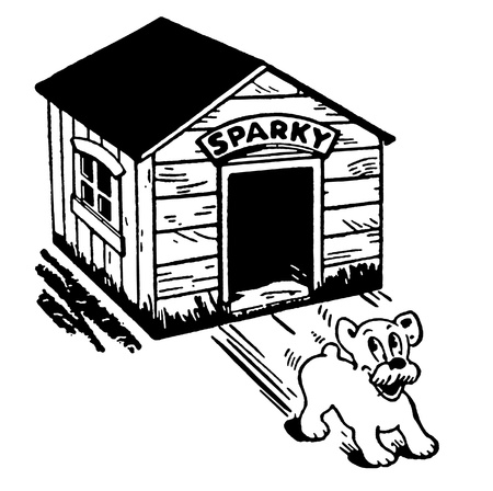 A black and white version of a cartoon style drawing of a dog skidding from its kennel Stock Photo