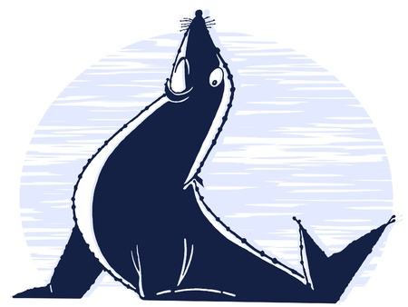 circuses:  An illustration of a posed sea lion