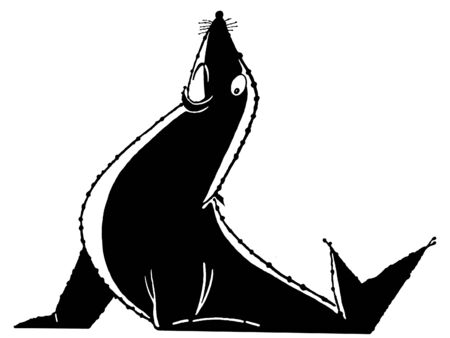 circuses:  A black and white version of an illustration of a posed sea lion