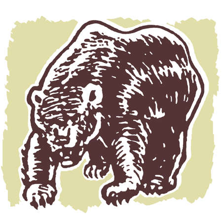 fierce:  An illustration of a fierce looking bear