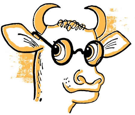smart:  A cartoon style drawing of a bull wearing rounded specials Stock Photo