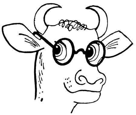 A black and white version of a cartoon style drawing of a bull wearing rounded specials