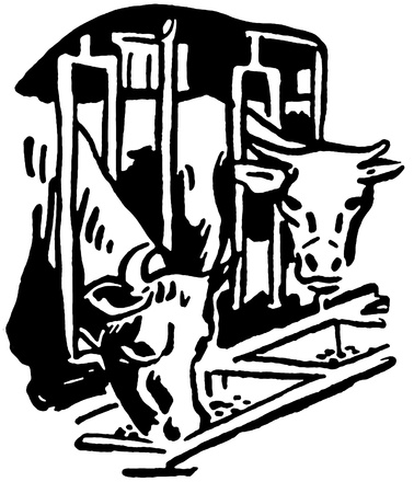 bull pen:  A black and white version of two bulls eating feed through a barn grill Stock Photo
