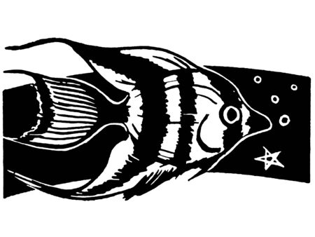 A black and white version of an illustration of a tropical fish swimming illustration