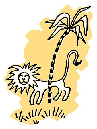 stealthy:  A simplistic drawing of a Lion prowling behind a palm tree