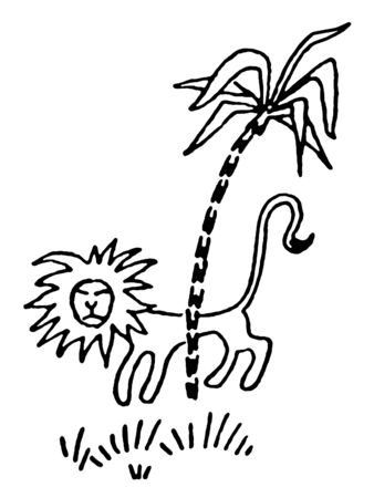 stealthy:  A black and white version of a simplistic drawing of a Lion prowling behind a palm tree