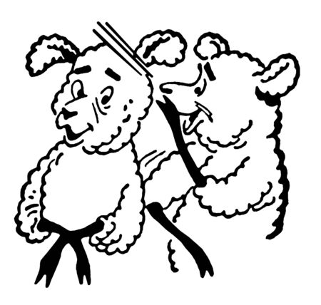A black and white version of a black and white version of a cartoon style drawing of two sheep