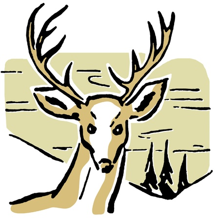 An illustration of a deer with pine trees and rolling hills in the background Banco de Imagens