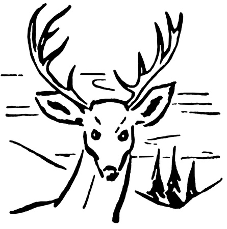 A black and white version of an illustration of a deer with pine trees and rolling hills in the background Banco de Imagens