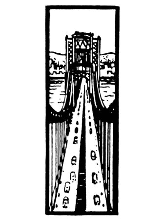 A black and white version of an illustration looking down along a busy bridge