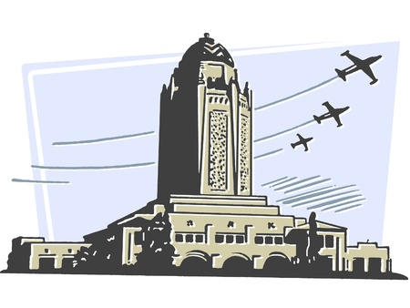 A large art deco type building with planes flying in the background