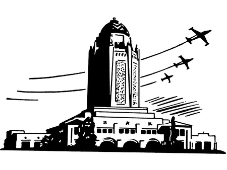 A black and white version of a large art deco type building with planes flying in the background