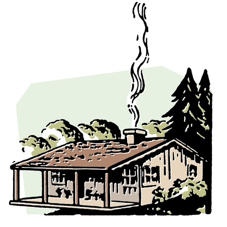 A small farm house with a smoking chimney