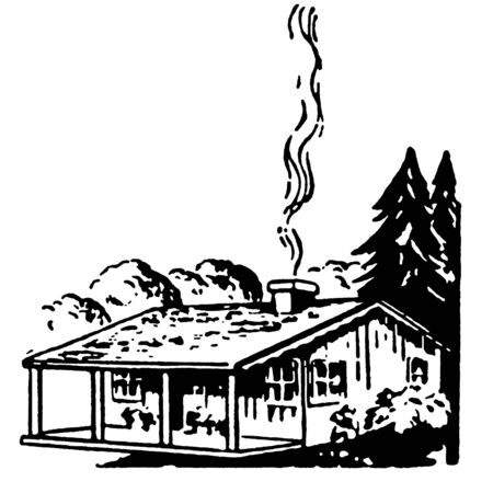 A black and white version of a small farm house with a smoking chimney Stock Photo - 14913097