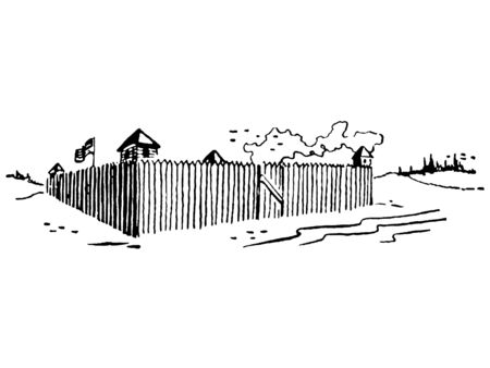 fenced:  A black and white version of an illustration of a fortress with a flag flying high Stock Photo