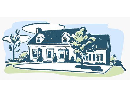 suburban:  An illustration of a suburban home