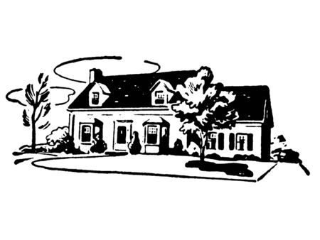 A black and white version of an illustration of a suburban home