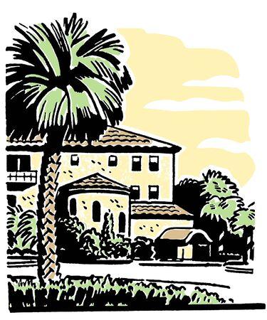 Een illustratie van een groot huis met een gevestigde Palm boom in de voortuin Stockfoto