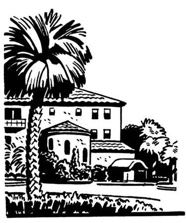 established:  A black and white version of an illustration of a large home with a well established Palm tree in the front yard Stock Photo