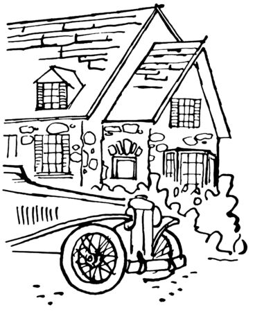 A black and white version of an illustration of a home with an old fashioned car in the foreground illustration