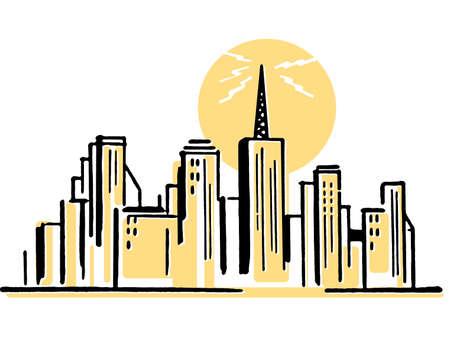 sky line:  An illustration of a city sky line