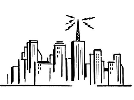 sky line:  A black and white version of an illustration of a city sky line
