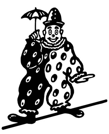 A black and white version of an illustration of a clown walking a tightrope illustration