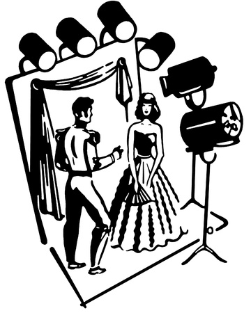 stage costume:  A black and white version of a man and woman on a theatre stage set Stock Photo