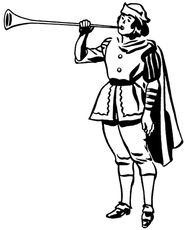 A black and white version of a drawing of a man in a renaissance era playing a horn or trumpet Stock Photo