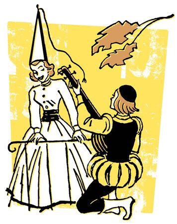 Een illustratie van een man serenade vrouw tijdens de renascence tijdperk