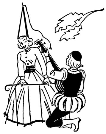 A black and white version of an illustration of a man serenading woman during the renascence era illustration