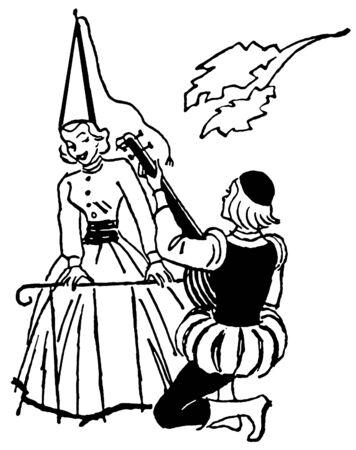 Een zwart-wit versie van een afbeelding van een man serenade vrouw tijdens de renascence tijdperk Stockfoto