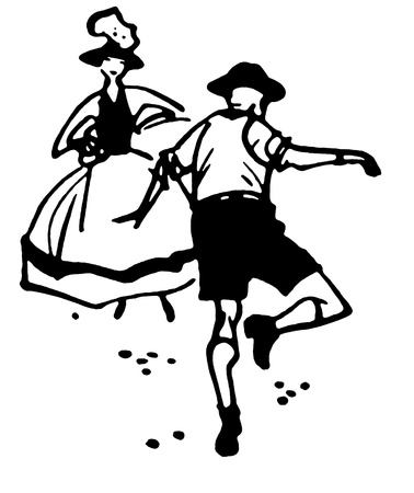 A black and white version of an illustration of a man and a woman dancing