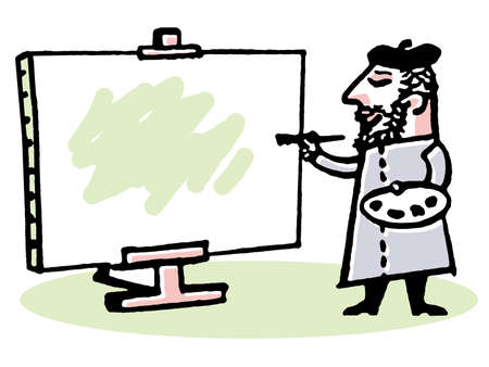 An illustration of a male artist painting on a stretched canvas illustration