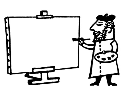 A black and white version of an illustration of a male artist painting on a stretched canvas
