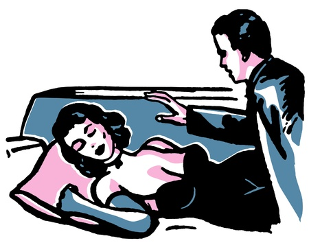 An illustration of a man looking down at a sleeping woman illustration