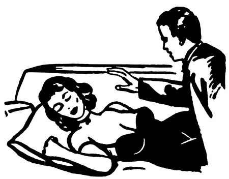 woman lying down:  A black and white version of an illustration of a man looking down at a sleeping woman Stock Photo