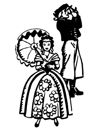 A black and white version of an illustration of a woman dressed in Victorian attire Stock Illustration - 14913096