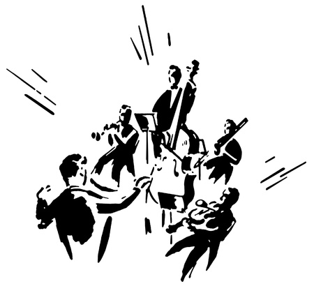A black and white version of an illustration of a man conducting an orchestra illustration