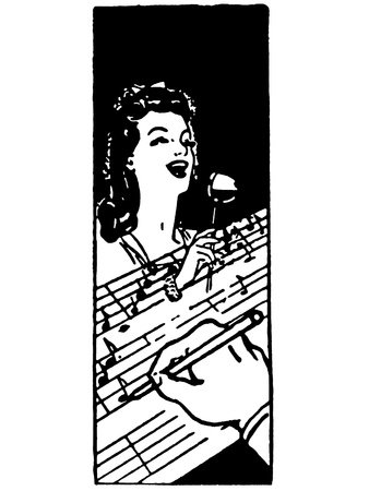 scores:  A black and white version of an illustration of a woman singing and a hand in the foreground jotting down notes Stock Photo