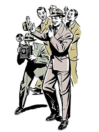 A drawing of a crowd of press taking notes and photographs  photo