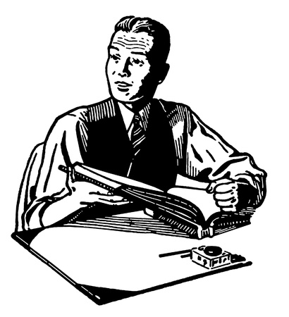 A black and white version of an illustration of a man reading at a writing desk illustration