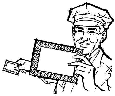 mailman:  A black and white version of a delivery driver holding a blank letter