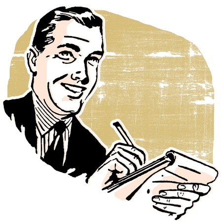 A business man writing in a notebook
