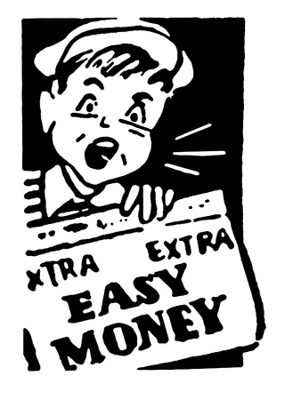 easy money: A black and white version of a young newspaper boy holding a newspaper that reads Easy Money