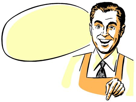 selling points: A man wearing a shirt an tie and an apron with an empty speech bubble behind him